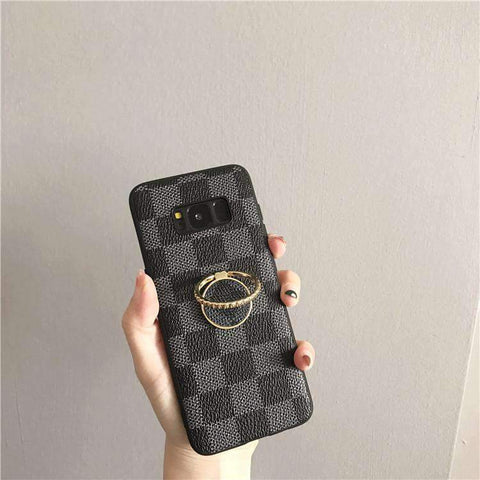 Contracted Grid Phone Case for Samsung with Phone Holder gallery 3