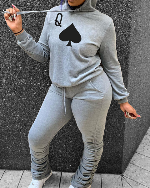 Playing Card Print Hooded Top & Pants Set