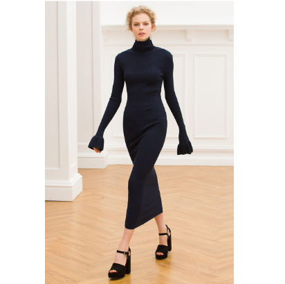 High Neck Flare Cuff Knitted Bodycon Sweater Dress