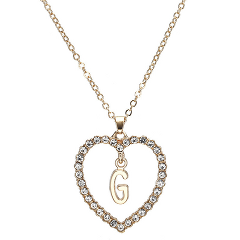 Gold Diamante Heart Shape Initial Pendant Necklace gallery 8
