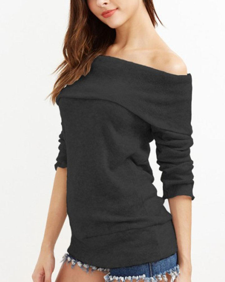 Off Shoulder Form Fitted Sweater gallery 7