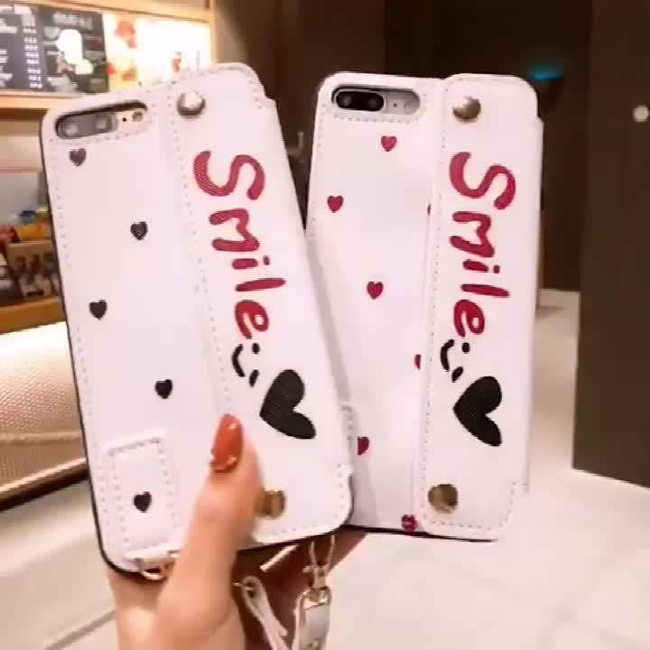 Smile And Hearts Pattern iPhone Case With Card Holder