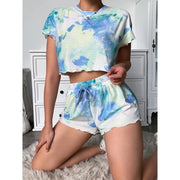 Tie Dye Round Neck Drawstring Waist Top & Short Set