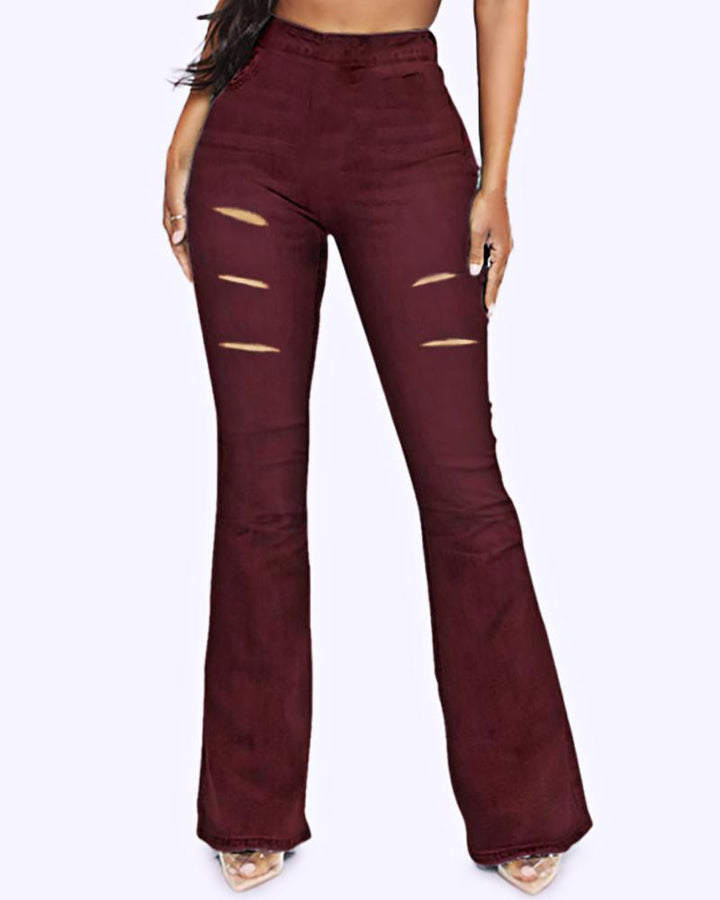 Solid Cut Out High Waist Flare Pants gallery 2