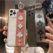 Modern Rivet Leather iPhone Case with Wrist Strap