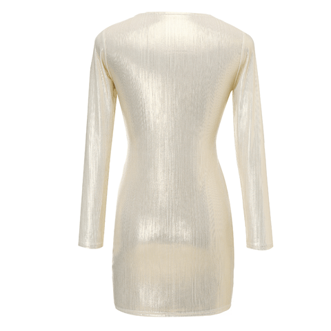 Metallic Cut Out Front Drawstring Ruched Mini Bodycon Dress gallery 4