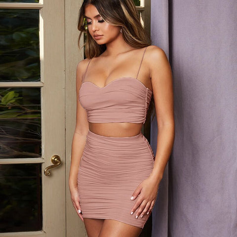 Nude Ruched Spaghetti Strap Jersey Dress Set gallery 2