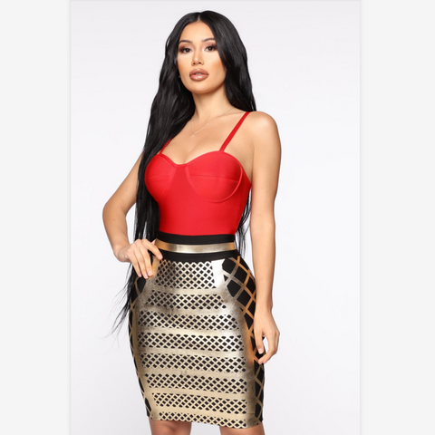 Sexy Color Contrast Cup Detail Grid Print Bodycon Dress