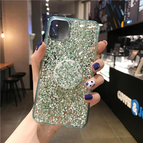 Four Colors Glittering Rhinestone Phone Case for Samsung with Phone Holder gallery 6