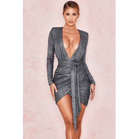 Grey Glitter Plunge Wrap Belted Waist Ruched Bodycon Dress
