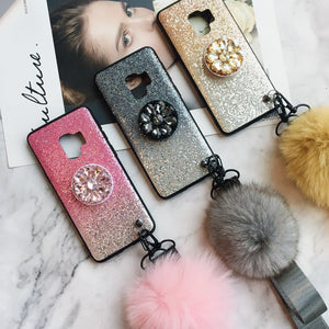Gradient Shining Unique Phone Case for Samsung with Phone Holder and Pom-pom