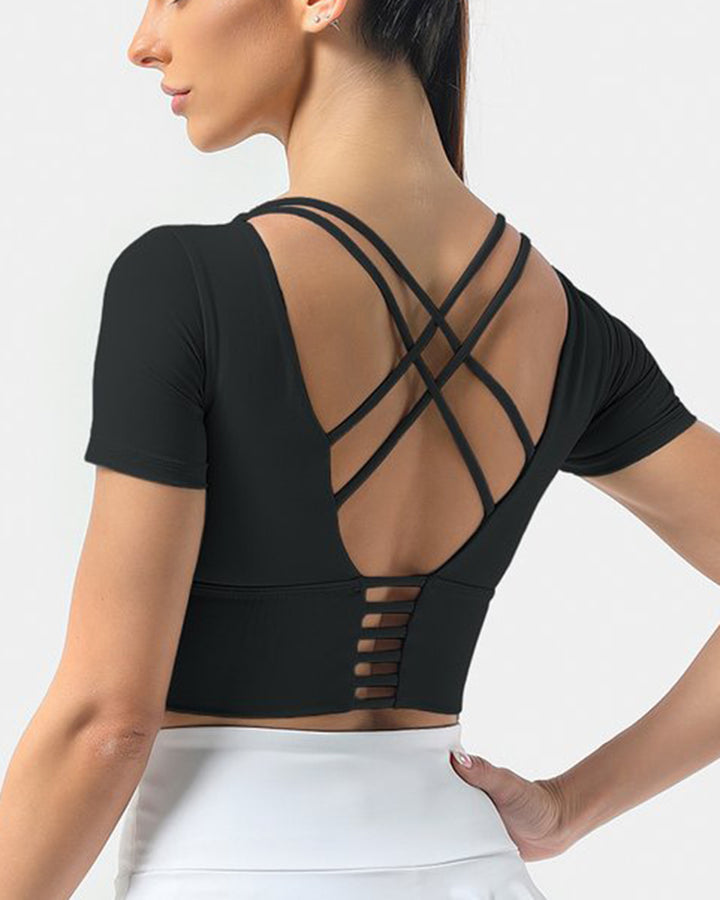 Crisscross Lace Up Back Sports Crop Top gallery 1