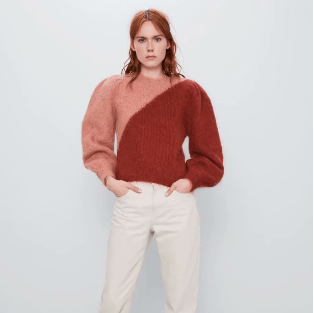 Cozy Color Block Round Neck Mohair Sweater