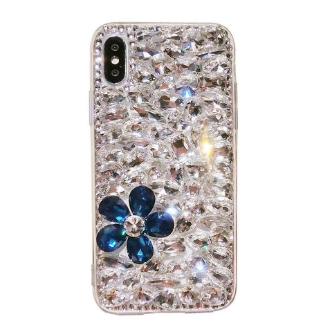 Clear Floral Full Rhinestone Cover Phone Case for Samsung gallery 2