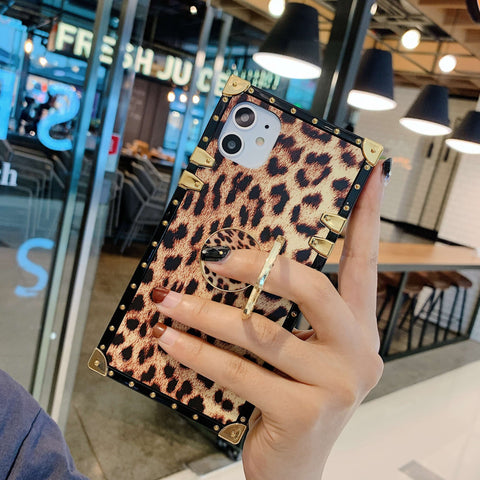Leopard Print Rivet Deco Square Phone Case for Samsung with Phone Holder gallery 5