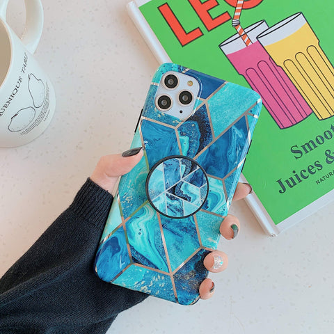 Rhombus Stitching Marble Phone Case for Samsung with Phone Holder gallery 6