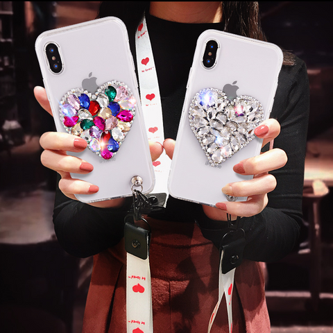 Heart Rhinestone Clear Transparent Phone Case for Samsung with Hand Strap gallery 3