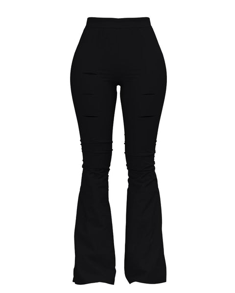 Solid Cut Out High Waist Flare Pants gallery 9