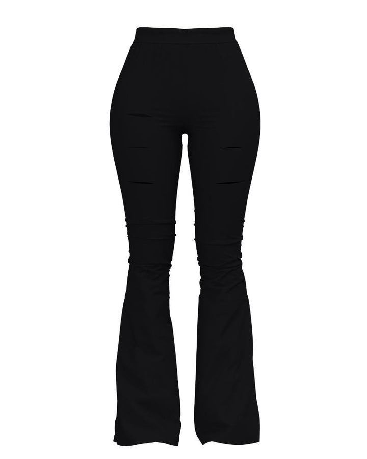 Solid Cut Out High Waist Flare Pants gallery 12