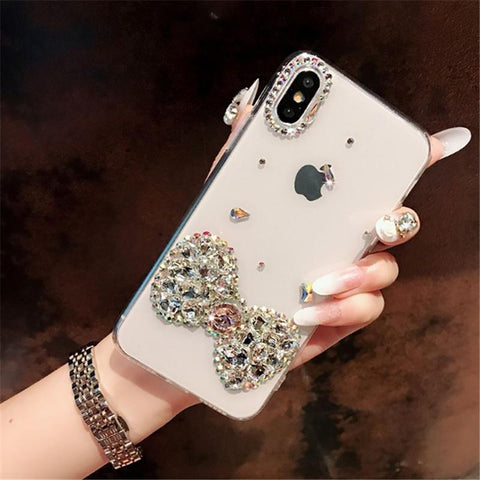 Bowknot Rhinestone Clear Transparent Phone Case for Samsung gallery 2