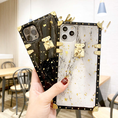 Gold Foil Decorated Marble Grains iPhone Case with Hand Strap
