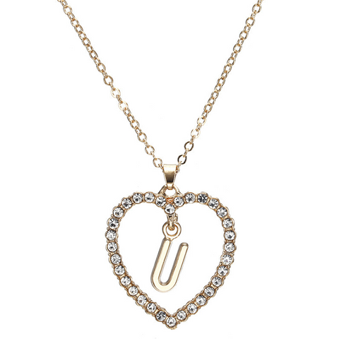 Gold Diamante Heart Shape Initial Pendant Necklace gallery 22