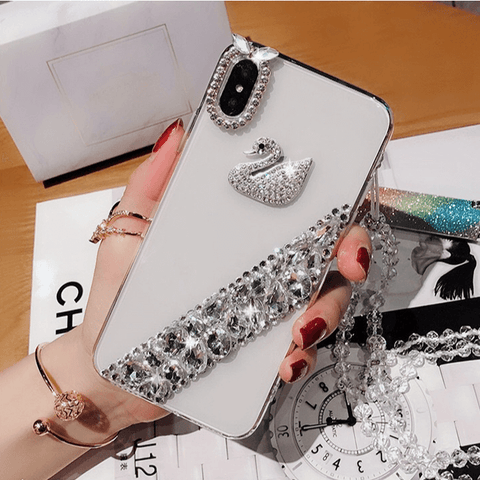 Shining Diamante Decorated iPhone Case with Hand Strap
