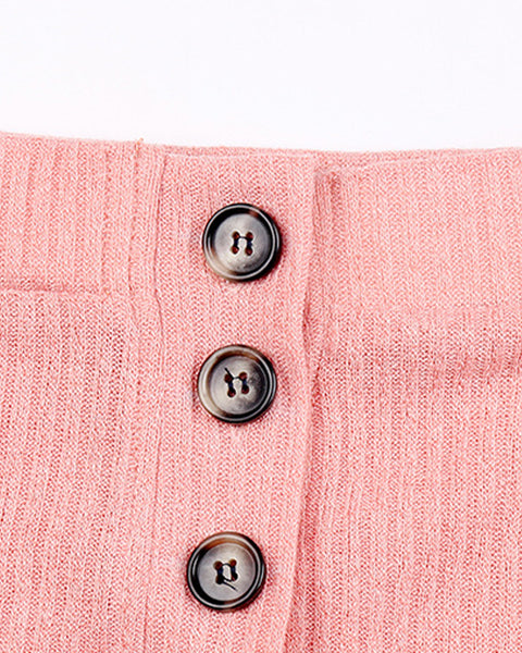 Button Front Rib-Knit Crop Sweater & Pants Set gallery 6