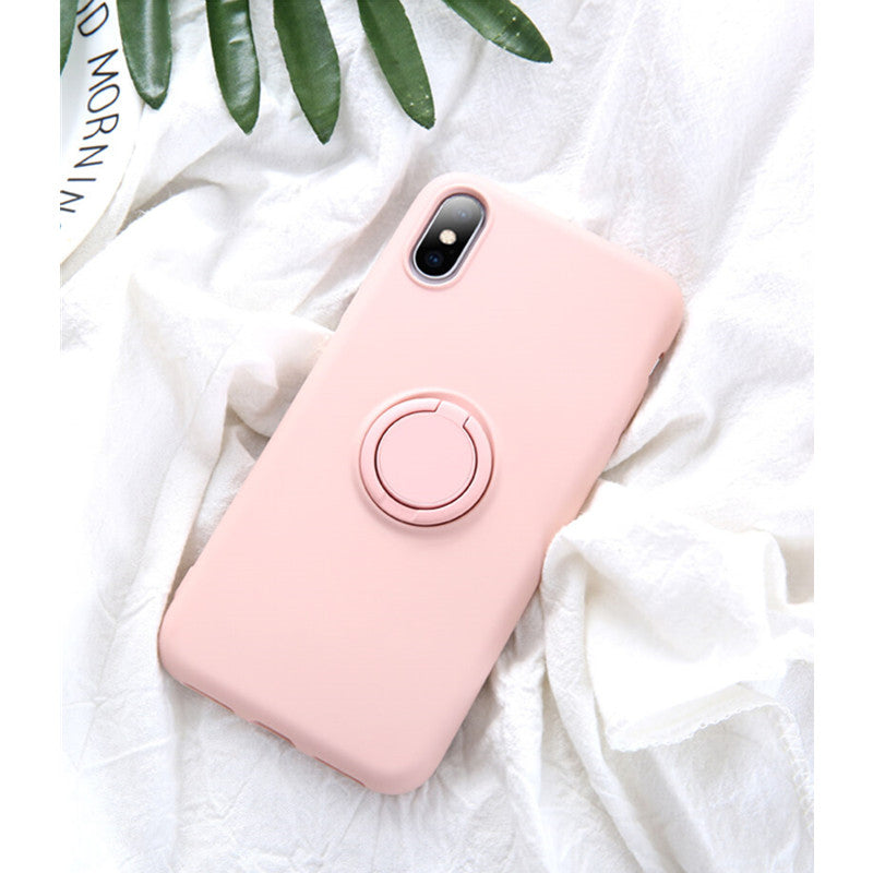 Pink Soft Liquid Silicone iPhone Case with Phone Holder