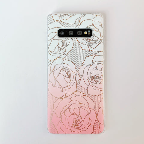 Floral Pattern Marble Phone Case for Samsung gallery 9