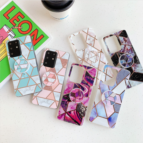 Marble Electroplated Detail Phone Case for Samsung with Phone Holder gallery 5