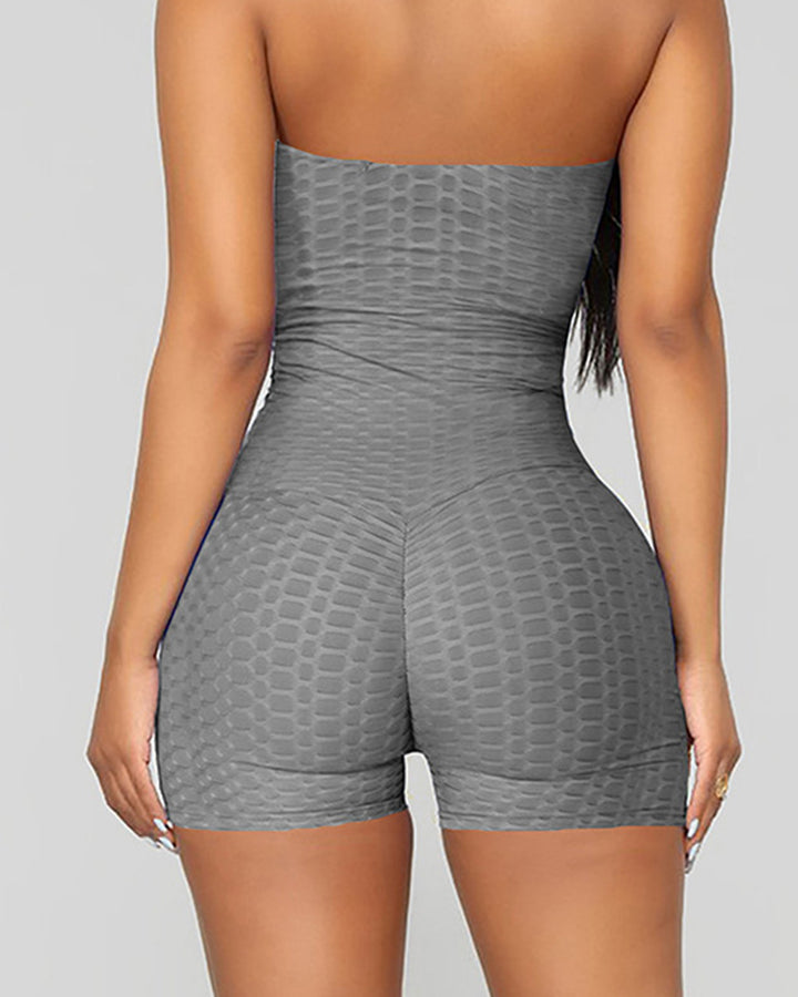 Letter Print Textured Strapless Sports Romper gallery 9