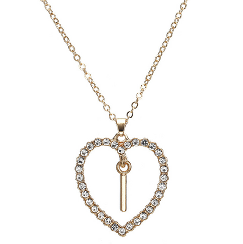 Gold Diamante Heart Shape Initial Pendant Necklace gallery 10
