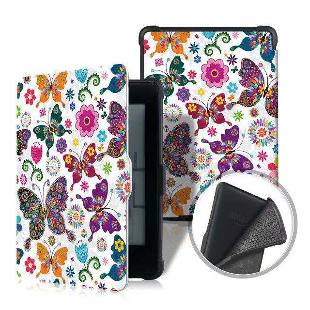 Literary Butterflies Painted Protective Cover Case For Amazon Kindle