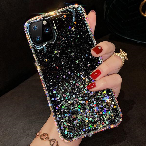 Clear Flowing Glitter Rhinestone Deco Phone Case for Samsung gallery 2