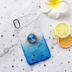 Contracted Transparent Patchwork iPhone Case with Ring