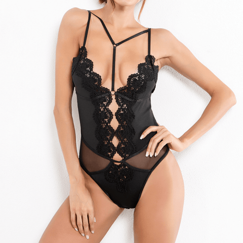 Embroidery Plunge Strappy Lace Teddy