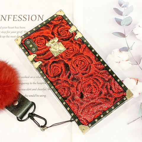 Glittering Retro Rose Pattern iPhone Case with Pom-pom