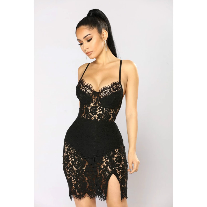 Sexy Lace Eyelash Detail Hollow Out Split Hem Dress