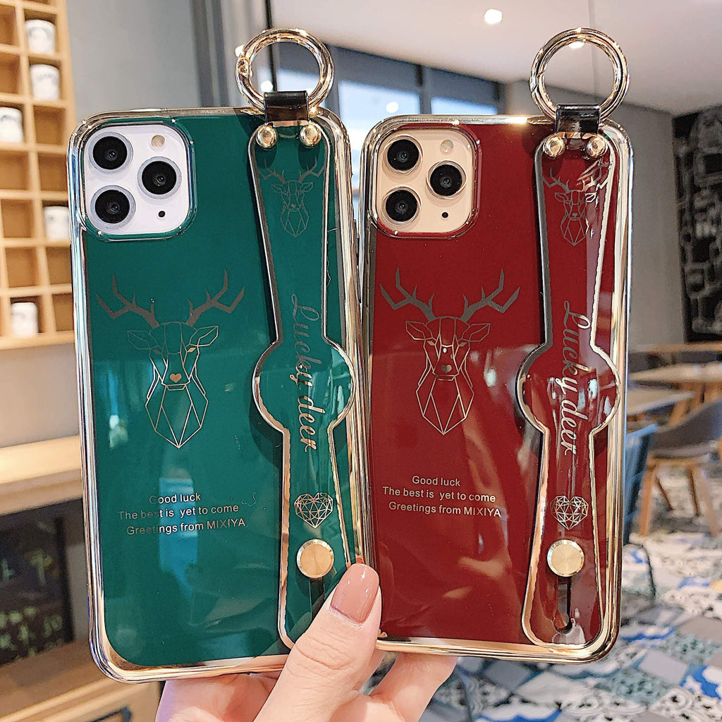 Electroplate Handsome Deer Pattern iPhone Case With Strap