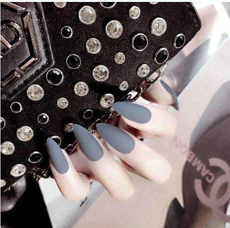 Grey Matte Magic Press On Nail Manicure