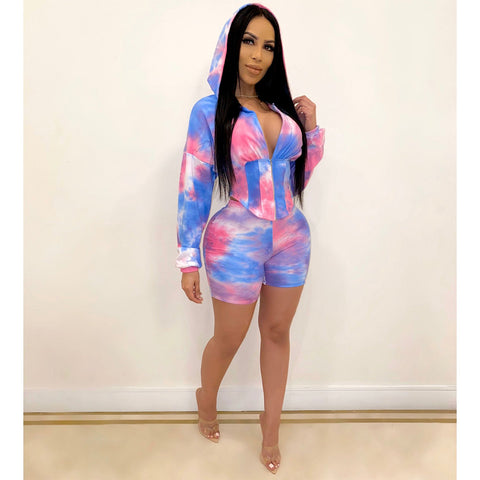 Tie Dye Corset Hooded Top & Short Set