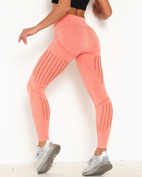 Contrast Hollow Out Space Dye Sports Leggings