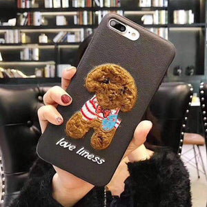 Luxury Embroidery Teddy Design Phone Case for Samsung