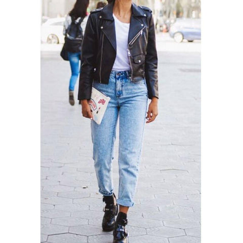 Casual Cropped High Rise Straight Leg Jeans