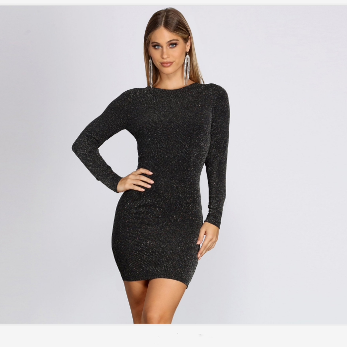 Black Criss-Cross Back Long Sleeve Bodycon Dress