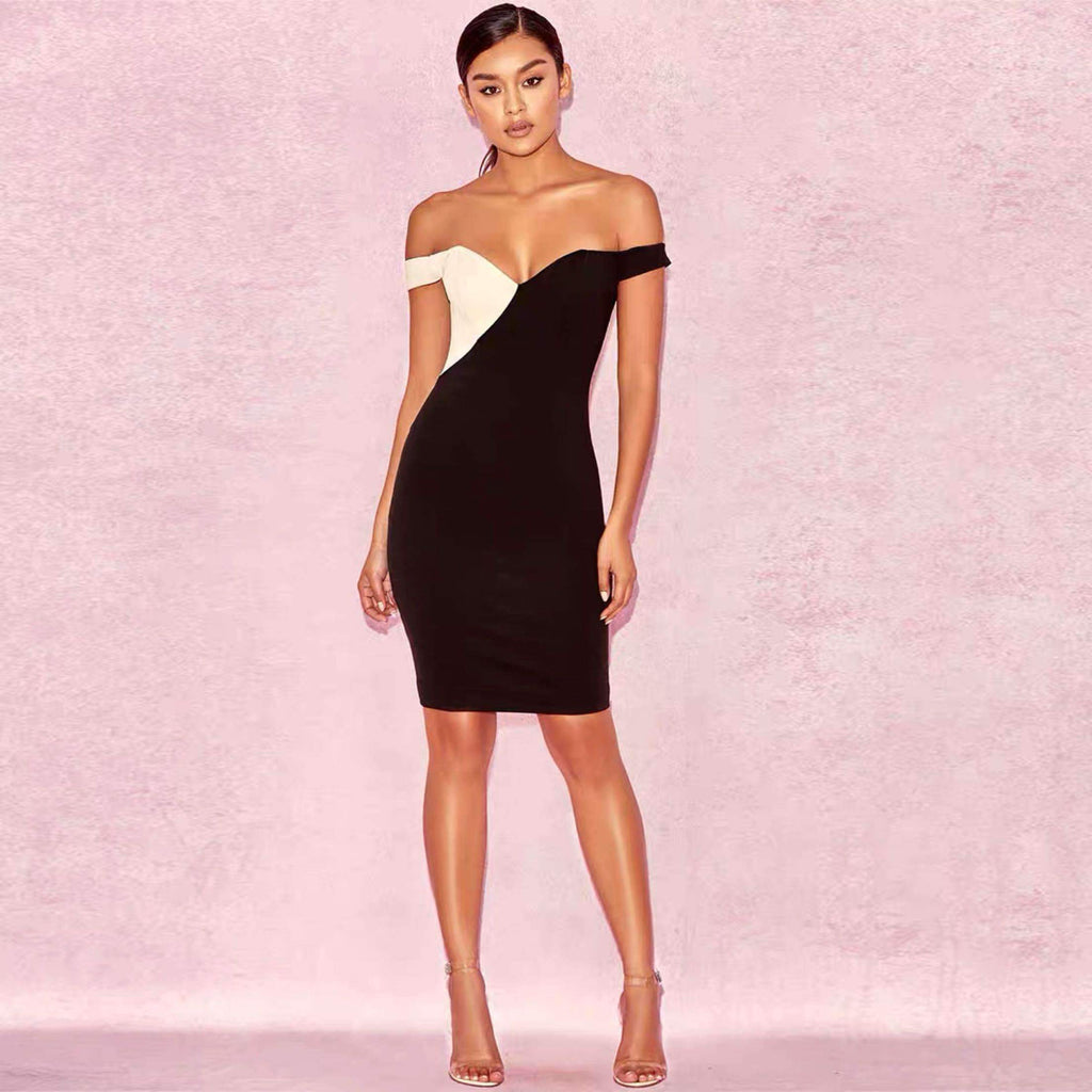 Bandage Dress Black And White Dress Annual Dinner Club Bar