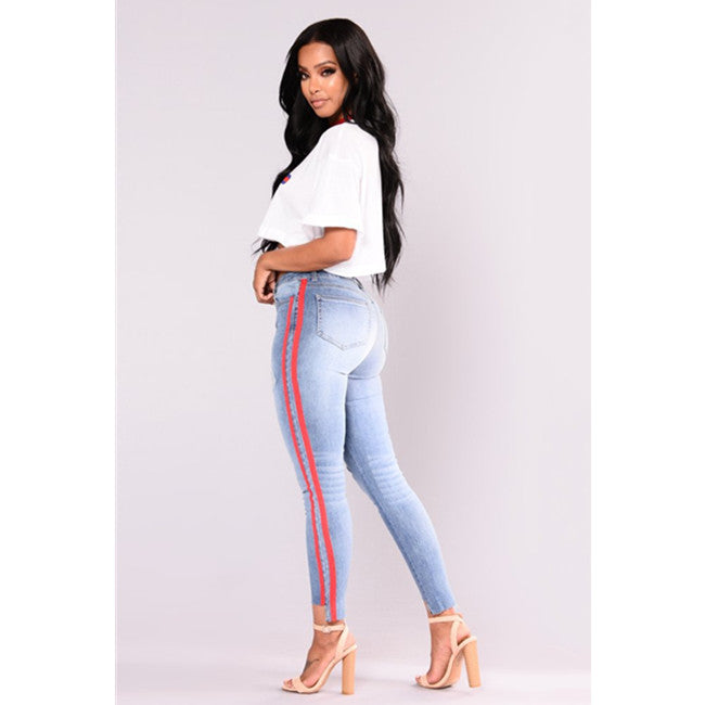 Red Braid High Rise Distressed Jeans