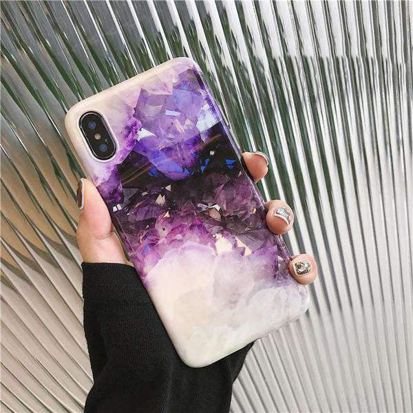 Marble Creative Purple Crystal Design iPhone Case