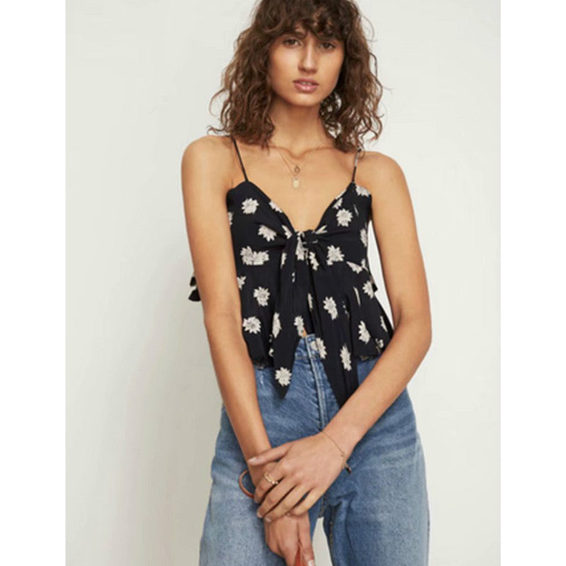 Spaghetti Strap Bow Front Printed Crop Top